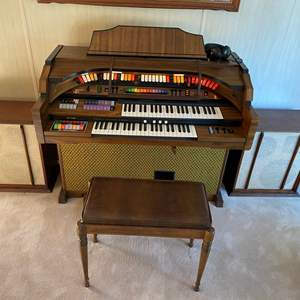 Lot # 24 - KIMBALL ORGAN WITH EXTRA EXTERNAL SPEAKERS AND BENCH