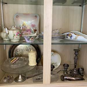 Lot # 32 - ANTIQUE DISHES & SILVER-PLATE ITEMS