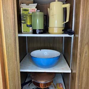 Lot # 66 - VINTAGE COFFEE POTS, COPPER CHAFFING DISH AND ENAMELWARE BOWL