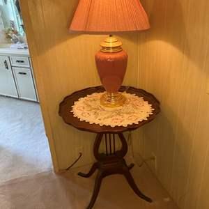 Lot # 76 - MAHOGANY HARP TABLE WITH LAMP