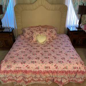 Lot # 92 - BEDDING, HEADBOARD AND FRAME (KING)