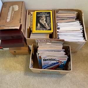 Lot # 142 - NAT GEO, POPULAR SCIENCE, OMNI AND LLAMA MAGAZINES - 4 BOXES