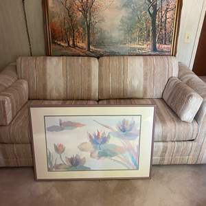 Lot # 160 - SLEEPER SOFA AND TWO PIECES OF FRAMED ART