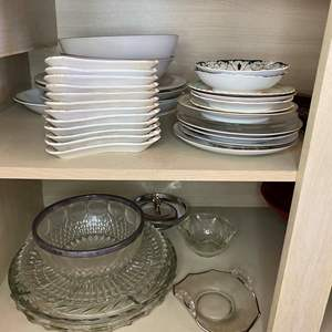 Lot # 41 - ANTIQUE CHINA AND MISC SERVING PIECES
