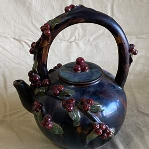 Lot # 6 - VINTAGE HANDMADE TEA POT ADORNED WITH CRANBERRIES AND LEAVES