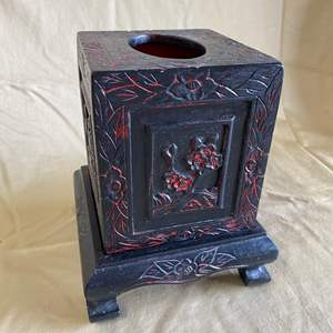 Lot # 8 - CHINESE CARVED WOOD & BLACK LACQUERED TISSUE BOX