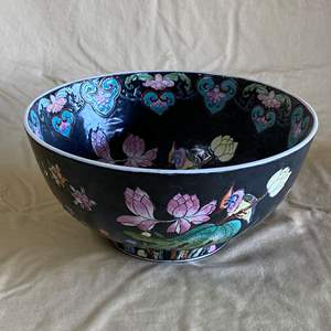 """Lot # 10 - LACQUERED 12"""" ROUND PORCELAIN CHINESE LOTUS BOWL"""