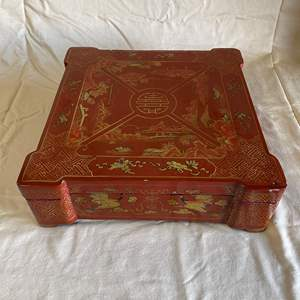 Lot # 18 - ANTIQUE RED LAQUER CHINESE JEWELRY BOX