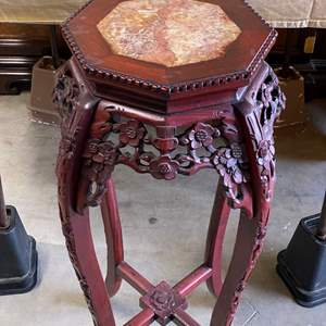 Lot # 36 - CARVED ROSEWOOD & MARBLE PLANT STAND