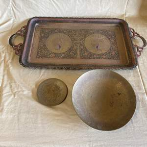 Lot # 50 - VINTAGE BRASS PLATTER WITH PEACOCK MOTIF AND BRASS PLATES
