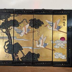 """Lot # 53 - CHINESE PANELS - GOLD LEAF AND HAND PAINTED & SIGNED 51""""W X 33"""" T"""