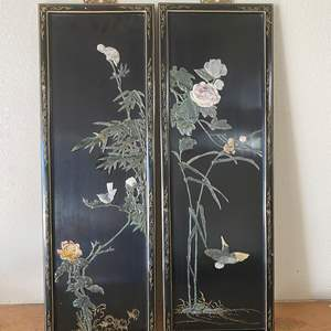 """Lot # 54 - TWO CHINESE PANELS BLACK LAQUER WITH SOAPSTONE & JADE DESIGNED MOTIF  EACH ONE IS 23"""" W X 36""""T"""