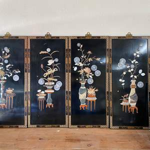 Auction Thumbnail for: Lot # 56  - ASIAN BLACK LAQUER PANELS WITH SOAPSTONE AND MOTHER OF PEARL