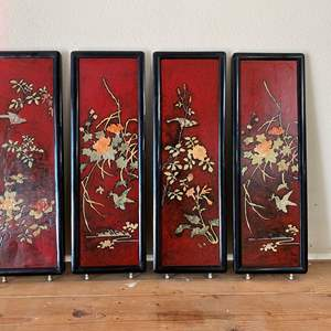 Lot # 58 - ASIAN BLACK LAQUER PANELS WITH MOTIF OUT OF SOAPSTONE