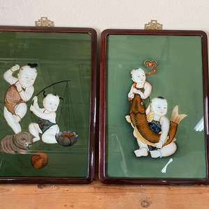 Lot # 59 - VINTAGE HAND PAINTED ASIAN ART IN ROSEWOOD FRAMES