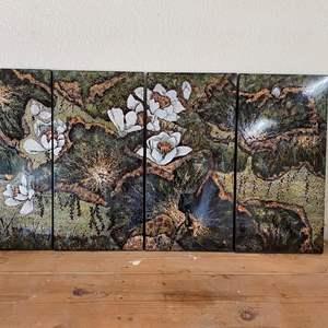 Lot # 63 - VINTAGE EGGSHELL MOSAIC 4-PANEL ART FROM VIETNAM