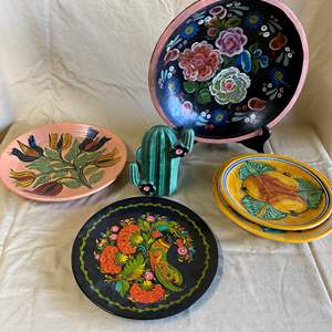 Auction Thumbnail for: Lot # 80 - HANDMADE DECORATIVE PLATES AND BOWLS