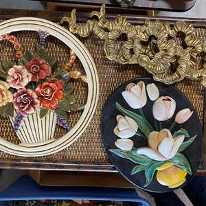 Lot # 108 - VINTAGE WALL DECOR - TWO PLASTER AND TWO METAL