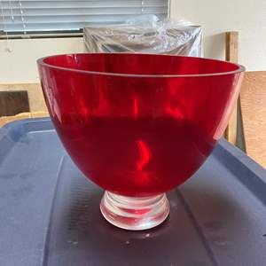 Auction Thumbnail for: Lot # 115 - 2 PUNCH BOWLS - RED BOWL IS CRYSTAL OTHER PIECES ARE VINTAGE PRESSED GLASS