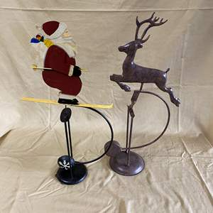 Lot # 127 - CHRISTMAS LOT 12 - SANTA AND RUDOLPH WITH PENDULUM ACTION