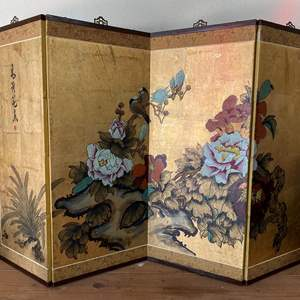 """Lot # 51 - CHINESE PANELS - GOLD LEAF AND HAND PAINTED & SIGNED - 35"""" TALL AND 5FT LONG"""