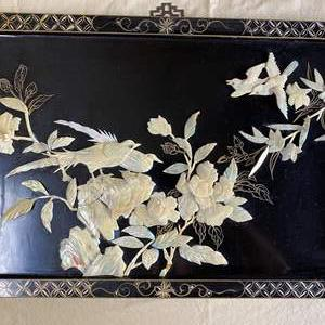 """Lot # 52 - ASIAN BLACK LAQUER WITH MOTHER OF PEARL PANEL 23.5"""" X 15.5"""""""