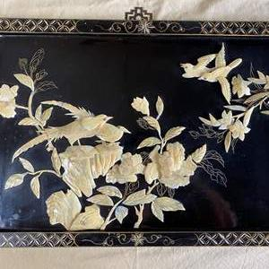 """Lot # 55 - ASIAN BLACK LAQUER WITH MOTHER OF PEARL PANEL 23.5"""" X 15.5"""" (MATCHES LOT 52)"""