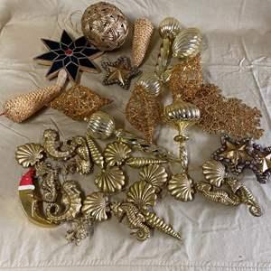 Lot # 132 - CHRISTMAS LOT 17 - GOLD ORNAMENTS