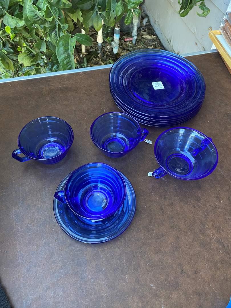 Lot # 107  - VINTAGE COBALT BLUE MODERN TONE GLASS DISHES (main image)