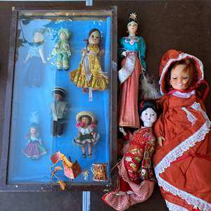 Lot # 98 - DOLLS WITH WOOD/GLASS DISPLAY CASE