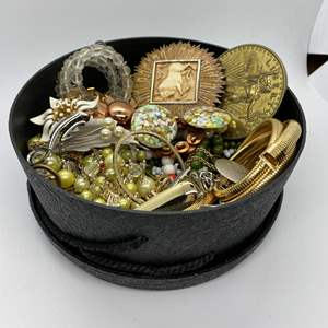 Lot # 112  - BOX FULL OF VINTAGE JEWELRY