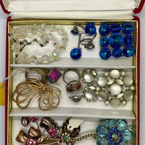 Lot # 113  - JEWELRY BOX FULL OF VINTAGE & CRYSTAL JEWELRY