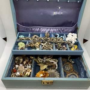 Lot # 114  - JEWELRY BOX FULL OF VINTAGE JEWELRY