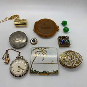 Lot # 122 - BAKELITE, COMPACTS, POCKET WATCH & MORE