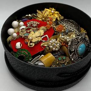 Lot # 124  - BOX FULL OF VINTAGE JEWELRY