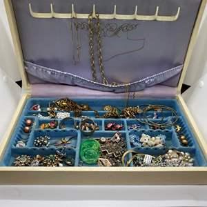 Lot # 130  - JEWELRY BOX FULL OF VINTAGE JEWELRY