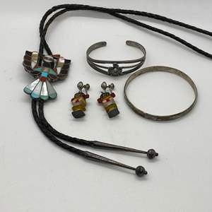 Lot # 233 - STERLING ZUNI BOLO TIE & OTHER SILVER INDIAN PIECES