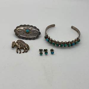 Lot # 239 - STERLING SILVER & TURQUOISE JEWELRY - NATIVE AMERICAN & MEXICO (28.7g)