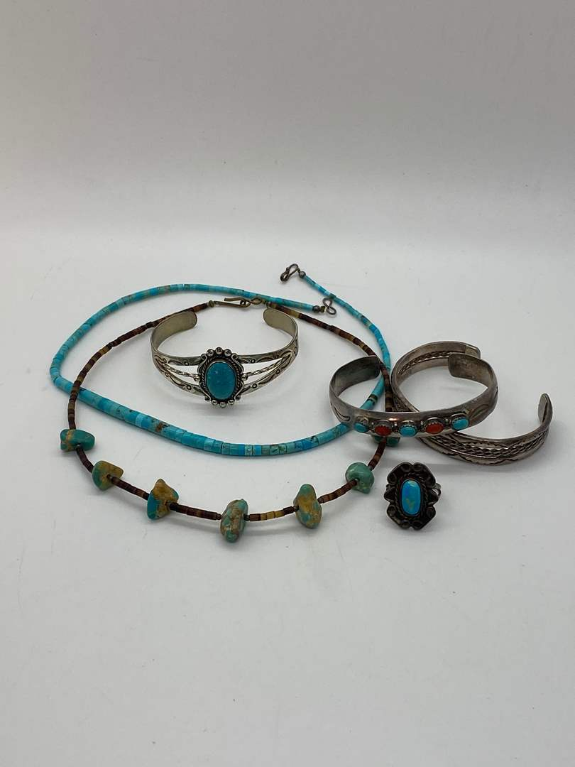 Lot # 240 - NATIVE AMERICAN STERLING SILVER & TURQUOISE JEWELRY (main image)