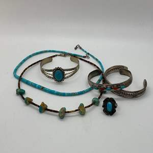 Lot # 240 - NATIVE AMERICAN STERLING SILVER & TURQUOISE JEWELRY