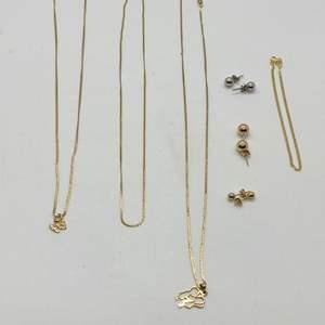 Lot # 245 - 14K & 10K GOLD NECKLACES & EARRINGS (7.6g)