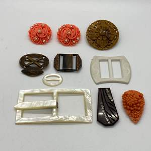 Lot # 78 - VINTAGE BUCKLES, EARRINGS AND CLIPS