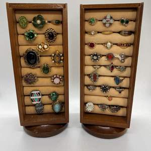 Lot # 18 -  VINTAGE COSTUME JEWELRY WITH DISPLAY CASES
