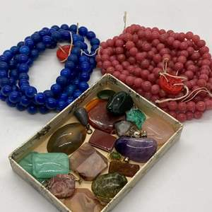 Lot # 21 - BLUE LAPIS, PINK JADE & OTHER LOOSE STONES