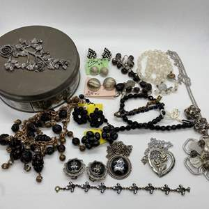 Lot # 36  -  VINTAGE COSTUME JEWELRY IN AN OLD TIN