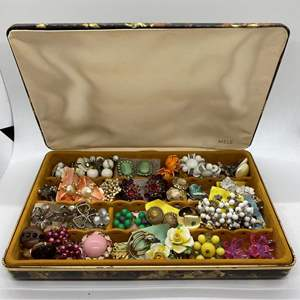 Lot # 37 -  VINTAGE JEWELRY BOX FULL OF CLIP ON EARRINGS