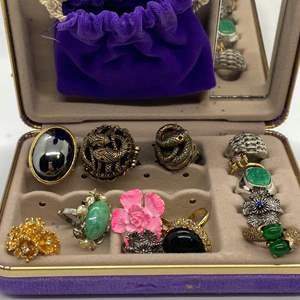 Lot # 40 - VINTAGE COSTUME POISON/PERFUME RINGS & OTHERS