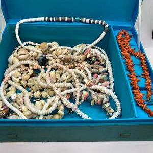 Lot # 46 - RED CORAL & SHELL NECKLACES IN SILK JEWELRY BOX