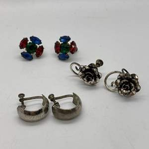 Lot # 52 - 3 PAIRS OF STERLING CLIP ON EARRINGS (22.2 total weight)