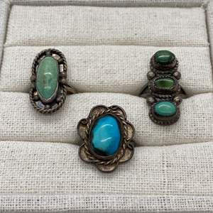 Auction Thumbnail for: Lot # 66 - SILVER & TURQUOISE RINGS - UNMARKED